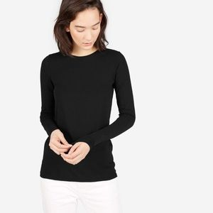 EVERLANE Lightweight Cotton Long Sleeve Tee Black